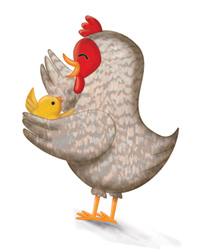 chicken illustration by chilren's illustrator Lynn Alpert